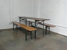 Original Vintage Ruku Wooden Trestle Folding German Beer Table & Benches