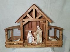 Reclaimed Wood Nativity Stable Creche Handcrafted Manger Barn