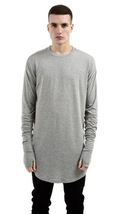 Essential Long Sleeve Under Scoop T-shirt - Grey