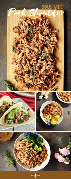 Sous vide pork shoulder cooked to fork tender without babysitting. This pulled pork recipe makes any main dish hearty flavorful and satisfying. Sous Vide Pork, Sous Vide Cooking, Pan Cooking, Cooking Recipes, Supper Recipes, Pork Recipes, Whole Food Recipes, Sweets Recipes, Easy Homemade Recipes