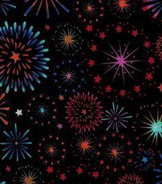 Patriotic Fabric-Fireworks On Black
