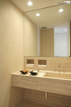 modern bathroom apartment interior with great mirror