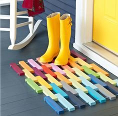 fun door mat at a play house or side entry