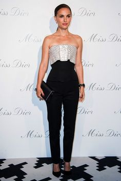 Natalie Portman wore a Christian Dior Couture strapless top and slim black trousers.