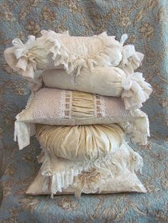 Nothing could be prettier than a mound of gorgeous lace pillows by Angela~❥