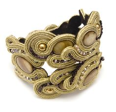 gold big statement soutache bracelet manja