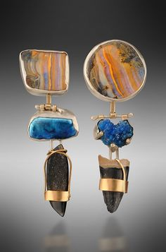 Earrings. Boulder opals, blue Biwa pearl, cavansite mineral, black drusy, fossilized alligator tooth, 14KY, sterling. $1500.