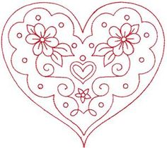 Redwork Embroidery valentine heart - would be pretty as red work embroidery. Embroidery Hearts, Embroidery Transfers, Hand Embroidery Patterns, Vintage Embroidery, Ribbon Embroidery, Embroidery Applique, Cross Stitch Embroidery, Machine Embroidery Designs, Red Work Embroidery