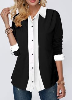 Turndown Collar Button Up Contrast Panel Shirt – sobueaty Trendy Tops For Women, Blouses For Women, Women's Blouses, 60 Fashion, Fashion Outfits, Fashion Details, Womens Fashion, Cycling Outfit, Mode Outfits