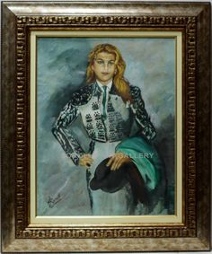 Rosell : Cristina Sanchez. Medium: Acrylic on paper Measurements (cm): 74x62 Canvas measurements (cm): 54x42 Interior frame: Yes. Portrait of a female bullfighter full of details and dynamism. Excellent quality and price. $639.87