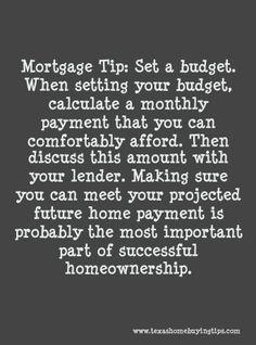 Here's your Thursday Mortgage Tip! If you or know of anyone who's looking to purchase a home anytime soon and needs financing, please don't hesitate to contact our office at (281) 994-4240 or you may visit our website at http://www.texashomebuyingtips.com. The Richard Smith Team is looking forward to helping you! :)