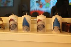 Peronalized candels for advent.. Printed on silk paper and transfered to the candel with heatgun. Easy and cool..