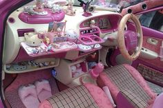 I found 'Hello Kitty Dream Car' on Wish, check it out! is this the inside of the mitsubishi car? kinda cluttered but cant have enough hello kitty.again in purple oppose to pink Cute Pink, Pretty In Pink, Perfect Pink, Chat Hello Kitty, Kitty Kitty, Hello Kitty House, Ideas 2017, Deco Rose, Girly Car