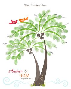 Tropical Theme Wedding Palm Tree Thumbprints Guest Book Poster with Ink Pad, Wall Art, Personalized Wedding Tree w/ Love Birds Print, 11x14 on Etsy, $32.00