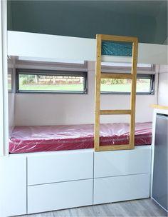 Caravan Bunk Beds, Diy Caravan, Bunk Bed Ladder, Bunk Bed Plans, Caravan Makeover, Caravan Renovation, Triple Bunk Beds, Diy Farmhouse Table, Diy Bed Frame