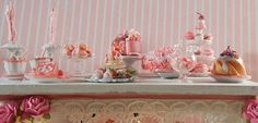 """Dollhouse Miniature - Shabby Chic """"I Dream in Pink"""" Dessert Table - 1/12th Scale"""