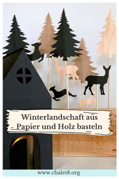 DIY: Winterlandschaft basteln aus Papier und Holz - Chalet8 Winter Diy, Christmas Diy, Xmas, Moose Art, Crafty, Paper, Design, Jewelry Making, Knit Gifts