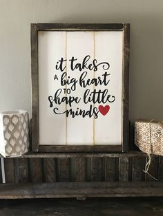 Farmhouse decor Framed wood sign- fixer upper style, daycare provider, teacher, gift by BrushAndBloomMarket on Etsy Daycare Provider Gifts, Daycare Teacher Gifts, Teacher Signs, Teacher Appreciation Gifts, Employee Appreciation, Teacher Stuff, Rustic Signs, Wooden Signs, Fixer Upper Style