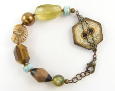 Chunky Bead Bracelet - Wood Gemstone Button Eclectic Rustic Jewelry. $36.00, via Etsy.