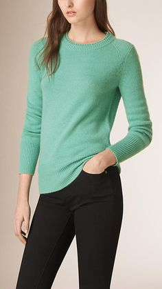 Dusty mint Crew Neck Cashmere Sweater - Image 1