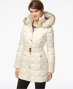 Betsey Johnson Faux-Fur-Hood Belted Puffer Coat - Coats - Women - Macy's
