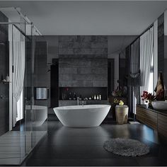 Here you may find out Amazing Home design for your Home. Certainly, it can help you a lot to make it looks great. Visit Applying A Trendy Bathroom Designs Which Arranged With A Luxury Gray and White Color Accent Decor to learn more. Bathroom Design Luxury, Bathroom Interior, Grey Bathrooms, Modern Bathroom, Bathroom Ideas, Bathroom Designs, Bathroom Styling, Glamorous Bathroom, Natural Bathroom