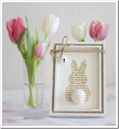 Easter bunny, cut out of old book pages..cute out of Betrix Potter for nursery