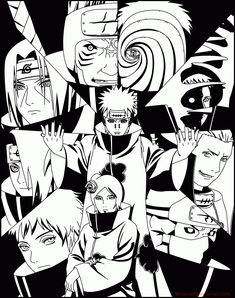 The akatsuki from naruto. Anime Naruto, Naruto Shippuden Anime, Otaku Anime, Manga Anime, Madara Uchiha, Boruto, Naruto Sketch, Naruto Drawings, Anime Sketch