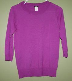 J Crew purple crew neck merino wool sweater 3/4 sleeves womens size XS #JCrew #Crewneck