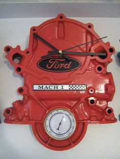 Ford Timing Cover Clock With Thermometer - Cool but I would put a Chevy or Rambler in my garage to go with my cars. Car Part Furniture, Automotive Furniture, Automotive Decor, Automotive Upholstery, Automotive Engineering, Engineering Technology, Furniture Plans, Kids Furniture, Man Cave Garage