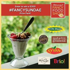 Enter the #FancySundae giveaway and you could win $300 worth of prizes!  In celebration of the Summer Fancy Food Show (#SFFS16) taking place this weekend Brio Ice Cream // booth #1980 Let's Do... Organics // booth 4259  The Wine RayZyn // booth 345 Kyvan Foods // booth #5022 Nuts About Granola // booth 5056 and Vermont Nut Free Chocolates // booth 5045 have all partnered up to offer an awesome Fancy Sundae Giveaway.  One lucky winner will receive a prize pack consisting of ice cream scoops…