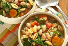 Kale, Pasta and Cranberry Bean Soup #recipes #food #healthy