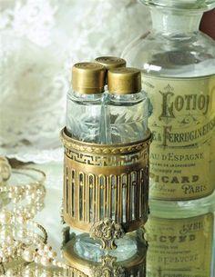 Set of 3 Vintage Victorian Style Vanity Jars In Ornate Gilded Base
