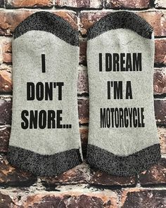 Snore Motorcycle Harley Davidson Inspired Gift I Don't Diy Gifts For Dad, Grandpa Gifts, Fathers Day Gifts, Socks Quotes, Harley Davidson Gifts, Motorcycle Gifts, Custom Socks, Sock Shop, Teacher Christmas Gifts