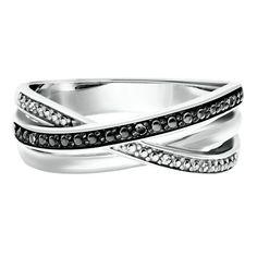 ♡ Black & White Diamond Crossover Ring in Sterling Silver ♡ ~ ☆Helzberg Diamond☆