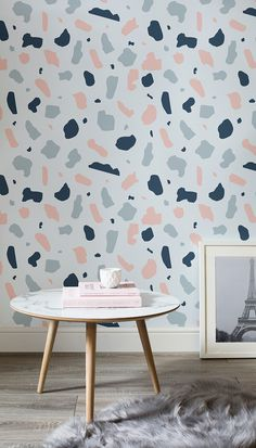 Stone Terrazzo Wallpaper Mural In love with pastels? This Terrazzo inspired wallpaper brings together candy-like shades to give a seriously cool design for your walls. Urban Home Decor, Diy Home Decor, Room Decor, Ceiling Design, Wall Design, House Design, Terrazzo, Textured Wallpaper, New Room