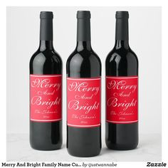 Merry And Bright Custom Family Name Cute Chic Christmas Wine Label. Created by RjFxx © #ChristmasWineBottleLabel