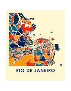Rio de Janeiro Map Print Full Color carte affiche par iLikeMaps