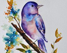 ORIGINAL Watercolor Bird Painting Pastel Colored by ArtCornerShop
