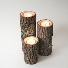 Tree Branch Candle Holders I- Rustic Wood Candle Holders, Tree Bark, Wooden Candle Holders from WorleysLighting on Etsy. Saved to Furniture Square. Rustic Candle Holders, Candle Holder Set, Rustic Candles, Cool Candles, Led Candles, Incense Holder, White Candles, Rustic Wood, Rustic Decor