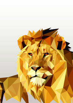 geometric lion in color