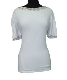 Love this White Sequin Trim Top - Women by Vecceli Italy on #zulily! #zulilyfinds