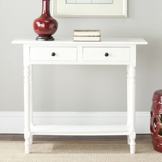 <p>Classically chic and fit for an array of home decorating needs, the Cable Knit Console Table by Three Posts is an essential and elevated design.</p><p> Constructed from solid pine wood, this beautiful piece is streamlined and accented with turned details and molds fit for any traditional ensemble. Two drawers and an open bottom shelf provides extra storage opportunity for small accessories or creating a stylish vignette. It also offers a few different finishes in a n...