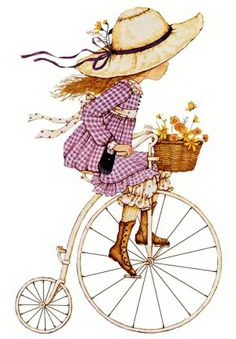Little girl on vintage bike with flowers in the basket print