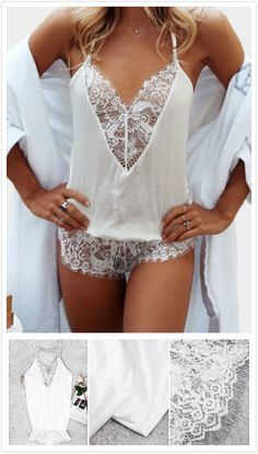 Bring attention to this bodysuit. It is adorned with v-neck, lace detail, sleeveless and cold shoulder. Pair with sandals will be great.