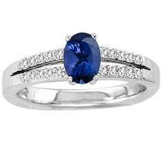 .40ct Oval Tanzanite Ring With .14ctw Diamonds in 14k White Gold