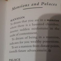 Last night I dreamed I bought a beautiful huge white mansion. I loved the house. But I had to run through it locking most of its many doors-  protecting what I had from those who would take it from me... Interesting no?  Book 10000 Dreams Interpreted  by G. H. Miller  #dreaminterpretation #Symbolism