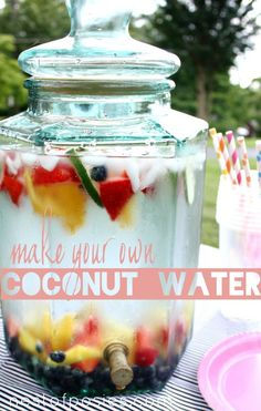This looks delicious! Make your own Coconut Water. Make a big batch for everyday or for parties! via Nest of Posies Do It Yourself Food, Good Food, Yummy Food, Water Recipes, Smoothie Drinks, Smoothie Recipes, Summer Drinks, Snack, Coconut Water