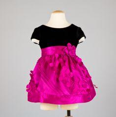 Infant Empire Dress Taffeta Ruffled Skirt Black/Red