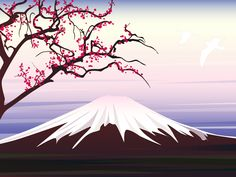 Sakura Tree Drawing Easy Paint | Illustration experiment: Dawn over Mount Fuji